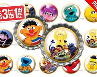 Sesame Street Bottle Cap Images - 1 inch size - Suitable for Hair Bows, Magnets, Scrapbooking, Stickers etc - High Resolution Images