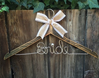 Rustic Personalized Bride or Bridesmaid Hanger
