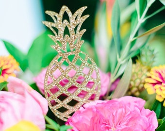 Pineapple Cake Toppers, Tropical Cake Topper, Acrylic Cake Topper, Laser Cut Topper, 5 inches tall, 1 Count