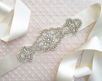 Wedding Sash Belt, Bridal Sash Belt - Crystal Sash Belt