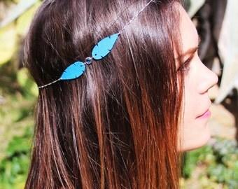 headband - bijoux de tête - plume de cuir - bleu électrique - pierre sertie semi précieuse - parure - romantique - ethnique - hippie chic