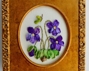 "Silk Ribbon Embroidery, Hand Stitched & Framed, Violets 4-1/2"" x 4"" Overall Size"