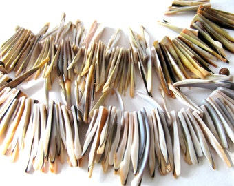 Shell sticks, 72 beads, 5 and 1/2 inch strand, brown, peach and white - #242