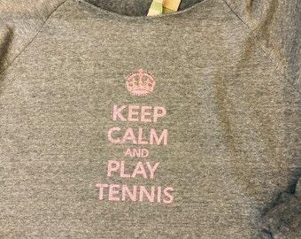 Tennis Sweatshirt- - Keep Calm and Play Tennis in Pink Glitter