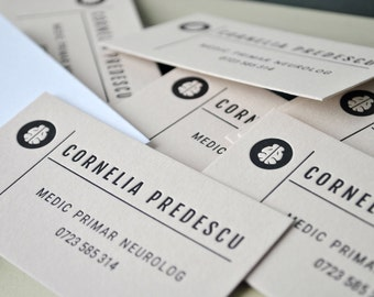 100 Letterpress calling cards, light brown card stock, black ink. Your text, our design letterpress business cards. Custom shape die cutting