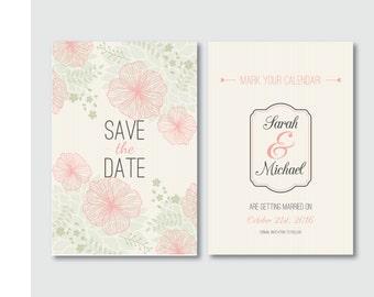 Save the date, Printable, Wedding invitation, Digital download, Printable, Floral save the date, Floral invitation, Pinstripes invitation