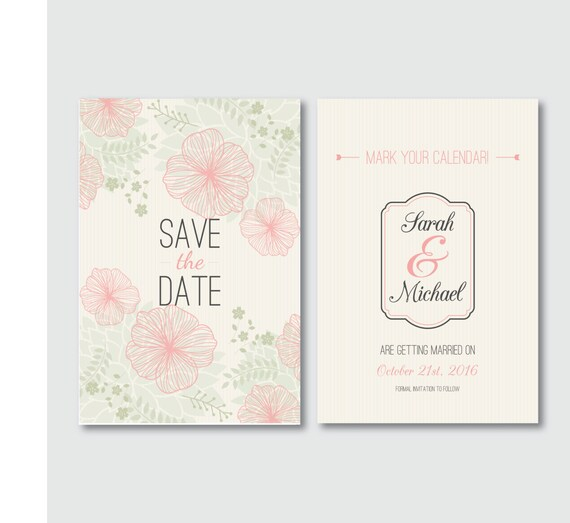 save the date printable wedding invitation digital