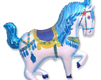 """Circus Horse Balloon, Blue, 35"""", Blue Circus Horse Balloons, Carousel, Horse Balloon, Circus, Horse, Circus Party, Carousel, Pony Party"""