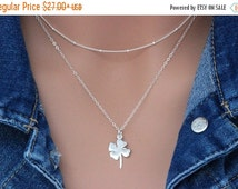 ON SALE Sterling Silver Four Leaf Clover Necklace, Leaf Clover Necklace in Sterling Silver, Lucky Jewelry, Sterling Silver, Nature, Leaf