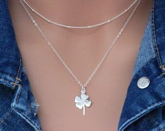 Sterling Silver Four Leaf Clover Necklace, Leaf Clover Necklace in Sterling Silver, Lucky Jewelry, Sterling Silver, Nature, Leaf