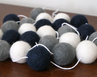 Navy Grey and White Felt Ball Garland, Baby Boy Shower Pom Pom Garland, Banner, Party Decor, Playroom Bunting