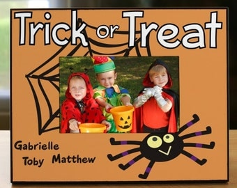 Personalized Trick or Treat Printed Frame, Halloween Picture Frame