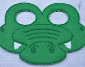 Crocodile Children's Felt Mask  - Costume - Theater - Dress Up - Halloween - Face Mask - Pretend Play - Party Favor