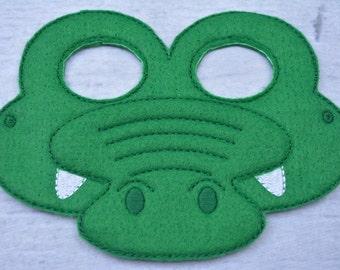Crocodile Children's Felt Mask  - Costume - Theater - Dress Up - Halloween - Face Mask - Pretend Play - Party Favor
