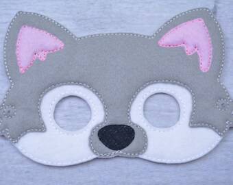 Gray Wolf Children's Felt Mask  - Costume - Theater - Dress Up - Halloween - Face Mask - Pretend Play - Party Favor