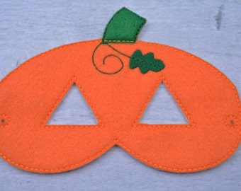 Pumpkin Children's Felt Mask  - Costume - Theater - Dress Up - Halloween - Face Mask - Pretend Play - Party Favor