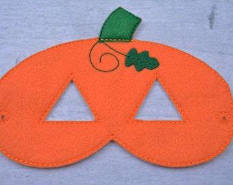 Pumpkin Children's Felt Mask  - Costume - Theater - Dress Up - Halloween - Face Mask - Pretend Play - Party Favor