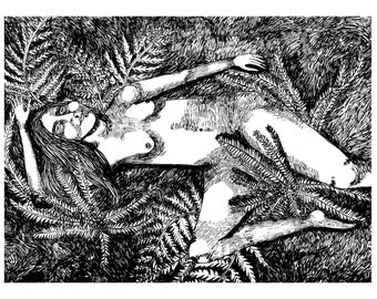 Ferns - original ink drawing