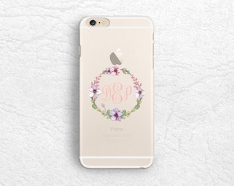 Floral Wreath Clear transparent Monogram phone case for iPhone 7, Sony z5, HTC one M9, LG G6, Nexus 5X, Samsung S8, Google Pixel XL -T12