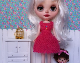 Fuchsia wool mohair dress for BLYTHE