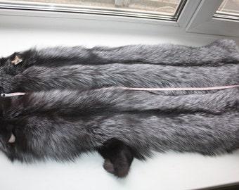 "Silver fox pelt 27"" / 70 cm"