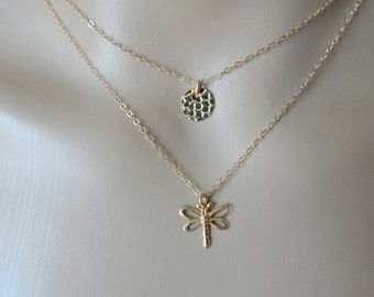 Gold layered necklaces. Gold hammered disc necklace. Gold Dragonfly necklaces. Delicate gold layered necklace. Simple gold necklace set