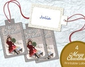 Merry Christmas Printable Label Xmas Ready to Print Sled Holidays Vintage Grey Digital Hang Gift Favor Tag Nametag Instant Print Download