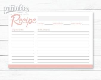 Blush Pink Recipe Cards - Editable Recipe Card - Simple Recipe Card 4x6 - Instant Download - DIY Recipe Card Template - Downloadable Cards