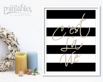 C'est La Vie Art Print - French Quote - Black and White Stripes French Decor - French Sayings - Pink French Art Print - Inspirational Quote
