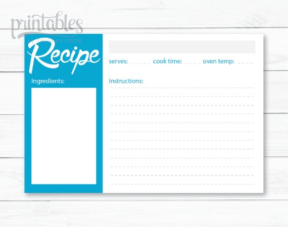 blue recipe card template minimalist 4x6 recipe cards printable blue kitchen printable. Black Bedroom Furniture Sets. Home Design Ideas