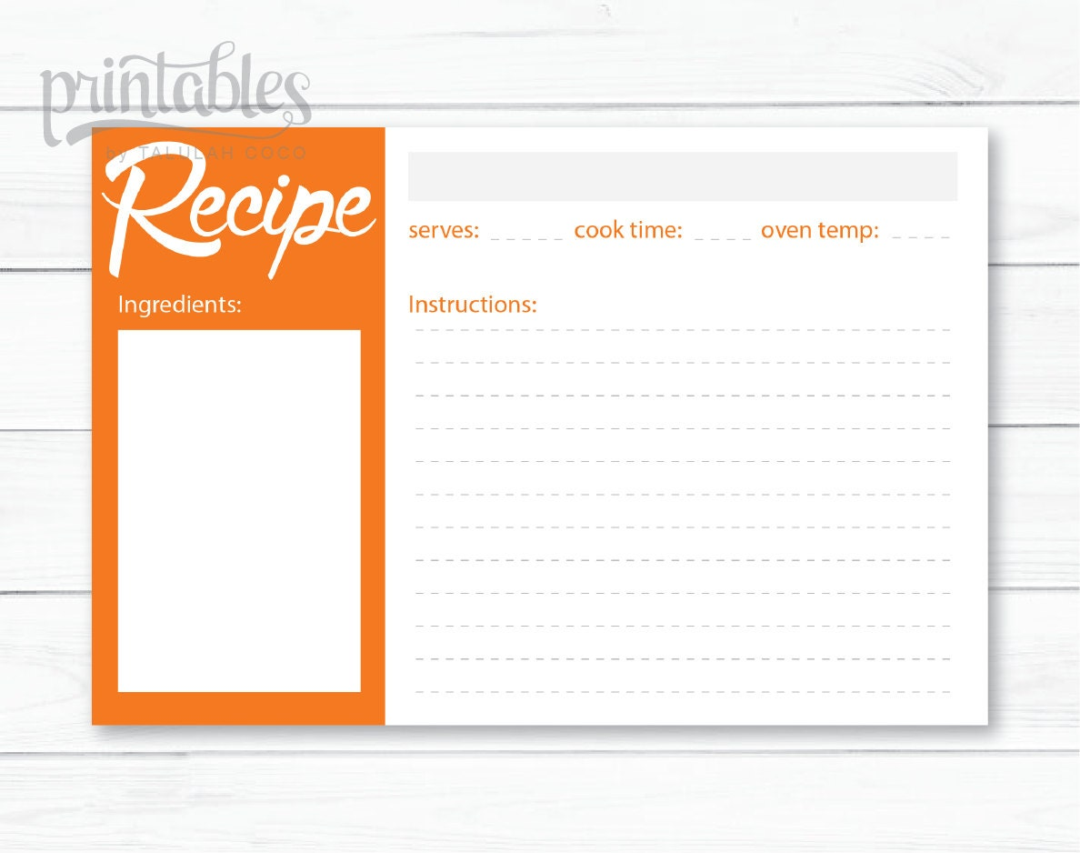 Editable recipe card | Etsy