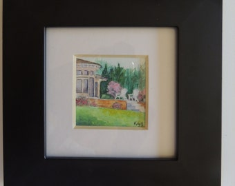 Original Watercolor Mini Painting Framed Castle Hill Inn Newport Rhode Island RI Coastal Art