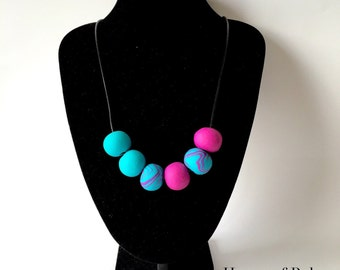 Aqua statement necklace. Aquamarine, violet necklace. Big bold chunky necklace. Polymer clay beads necklace. Bright design. Modern necklace
