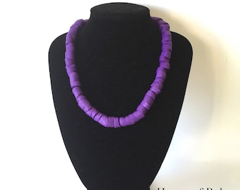 Edgy necklace. Chunky purple polymer clay necklace. Purple statement jewellery. Modern necklace.Big jewellery. Gift for her. Bold necklace.