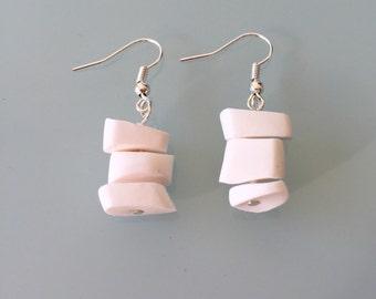 Drop earrings, white edgy earrings. Polymer clay earrings.