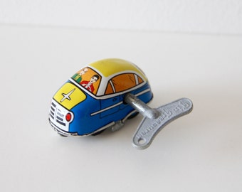 Vintage Tin Toy Car - Wind-up toy with Key - Welby Tin Treasures - excellent working order tin toy