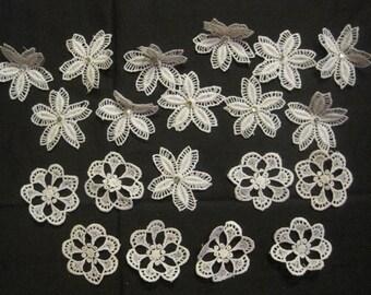 20 vintage individual lace flowers elements for embellishment