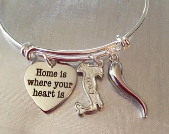 Italy Italian horn and home is where your heart is bracelet