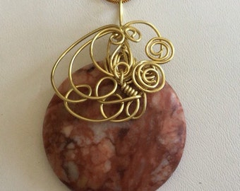 Red Line marble stone pendant necklace.