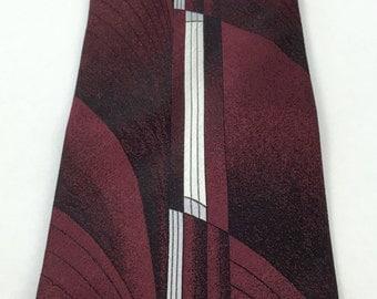 Vintage Men's Tie, Pierre Cardin Geometric Vertical Zig Zag Stripe Maroon Necktie, 100% Silk