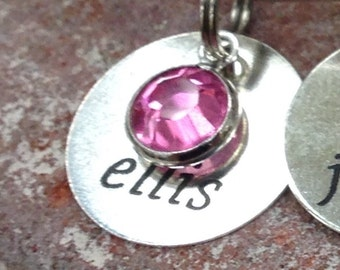 Custom Laser Engraved Charms with Birthstone Accent Charm