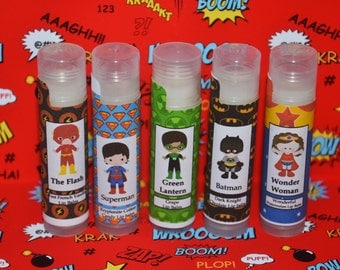 Dc Comic Lip balm, Batman, The Flash, Green Lantern, Superman, Wonder Woman Lip balm, comic party favors, dc comic birthday, justice league