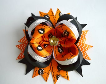 Halloween Hair Bow Boutique Hair Bows Layered Halloween Bow Stacked Bow Little Girl Bow Halloween Girl Hair bow Baby Hair bows Halloween