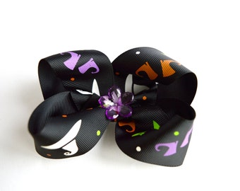 Halloween Hair Bow Big Bow Boutique Hair Bows Halloween Bow  Little Girl Bow Halloween Girl Hair bow Baby Hair bows Halloween Hairbow
