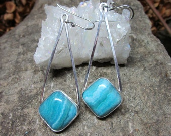 BO-133 Silver Earring 925 and turquoise blue agate free transport