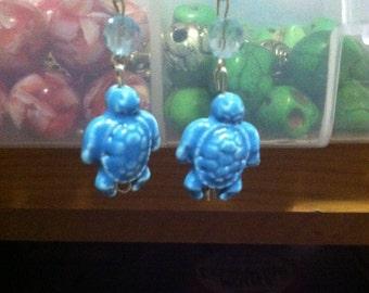 Light Blue Turtle Dangle Earrings