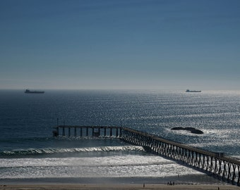 Beach, Ocean, Boat, Pier, Water, Sand, Landscape, Bridge, Waves, Blue, White, Brown, Freighter, Tanker