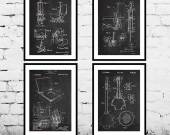Bathroom Patent, Bathroom Poster, Bathroom Art, Toilet Decor, Bathroom Decor, Bathroom Wall Art, Bathroom Blueprint, Bathroom Set of Four