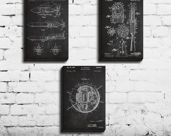CANVAS - Space Poster, Space Exploration Patent, Space Prints, Space Shuttle, Space Art, Outer Space Wall Decor, Space Rocket, Set of 3
