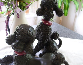 Atlantic Mold Poodle Pair Black/Gray Vintage 80s